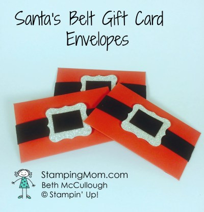StampingUp Santa Gift Card Holder made by demo Beth McCullough.  Please see more card and gift ideas at www.StampingMom #StampingMom