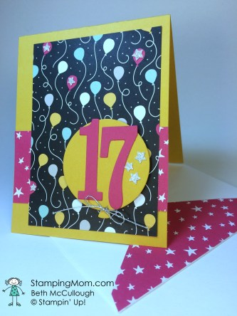 StampinUp birthday card made with the Large Numbers Framelits, designed by demo Beth McCullough. Please see more card and gift ideas at www.StampingMom.com #StampingMom