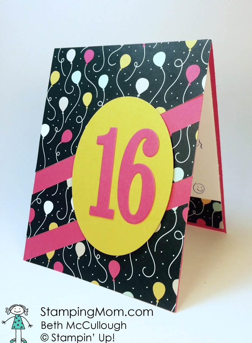 StampinUp Sweet 16 Birthday Card Made With The Large Number Framelits Designed By Demo Beth