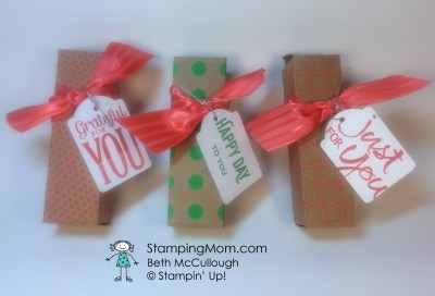 StampinUp Snickers boxes designed by demo Beth McCullough.  Please see more card and gift ideas at www.StampingMom.com #StampingMom