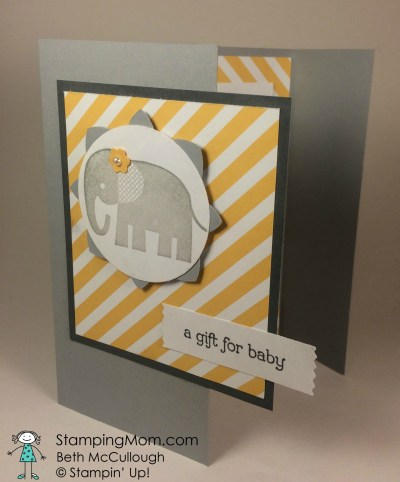 StampinUp baby card made with the Zoo Babies stamp set, designed by demo Beth McCullough.  Please see more card and gift ideas at www.StampingMom.com #Stampingmom