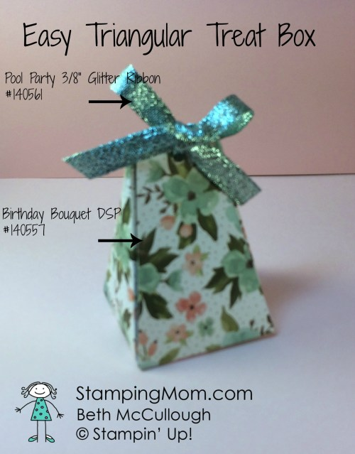 StampinUp easy triangular treat boxes made by demo Beth McCullough. Please see more card and gift ideas at www.StampingMom.com #StampingMom