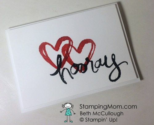 StampinUp engagement card made with Watercolor Words stamp set by demo Beth McCullough.  Please see more card and gift ideas at www.StampingMom.com #StampingMom