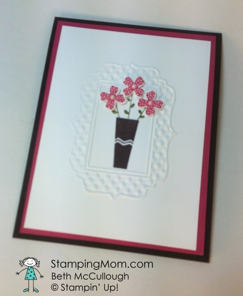StampinUp All Occasion card made with the Pictogram Punches stamp set, designed by demo Beth McCullough.  Please see more card and gift ideas at www.StampingMom.com  #StampingMom Sunday Stamps Top Cup winner