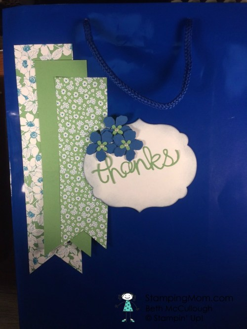 StampinUp decorated gift bag made by demo Beth McCullough and Barb. See more card and gift ideas at www.StampingMom.com #StampingMom