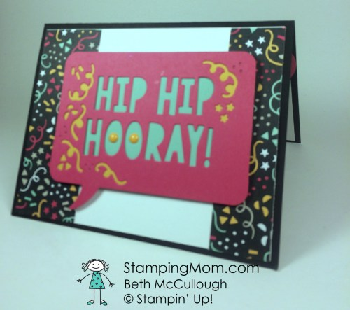 StampinUp CAS Birthday card made with the Party Pop-Up Thinlits Dies, designed by demo Beth McCullough. Please see more card and gift ideas at www.Stampingmom.com #StampingMom