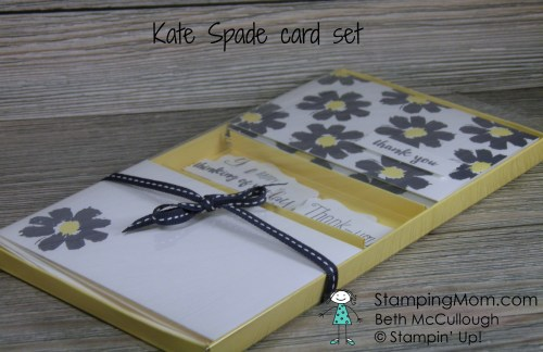 "Kate Spade inspired gift card set designed by StampinUp demo Beth McCullough Please see my blog for directions to make the box stampingmom.com/... #StampingMom This box is not sized for standard A2 cards. Theses are note cards 5"" x 3 1/2"" with envelopes 5 1/8"" x 3 5/8"""