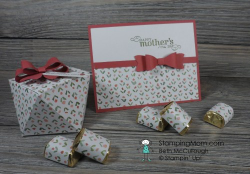 StampinUp Mother's Day Faceted Gift Box and card set made with the English Garden Designer Series Paper , designed by demo Beth McCullough. See more card and gift ideas at www.StampingMom.com #StampingMom