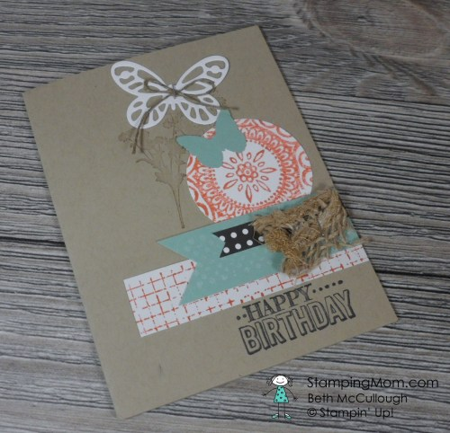 StampinUp birthday card made with the Bold Butterfly Framelits by my team mate Linda Mandernach.  Please see more card and gift ideas at www.StampingMom.com #StampingMom
