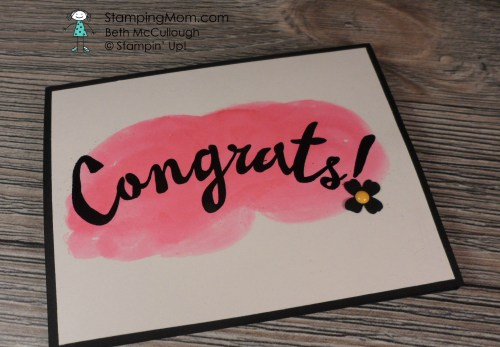 StampinUp Congratulations card made with the Bravo stamp set, designed by demo Beth McCullough. See more card and gift ideas at www.Stampingmom.com #StampingMom