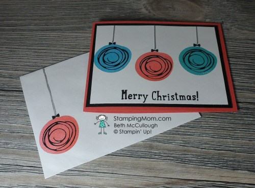StampinUp Christmas card made with the Swirly Bird stamp set designed by demo Beth McCullough. See more card and gift ideas at www.StampingMom.com #StampingMom