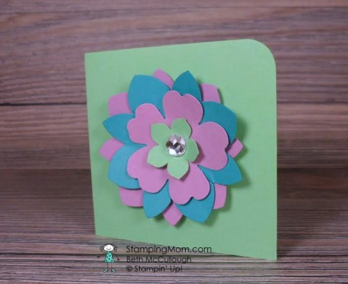 StampinUp quick and easy 3x3 flower punch card created by demo Beth McCullough. Please see more card and gift ideas at www.StampingMom.com #StampingMom