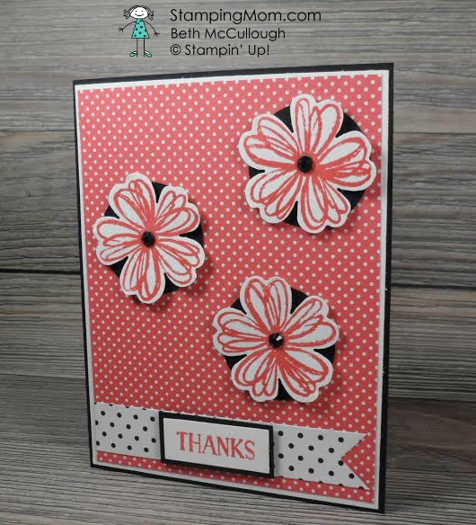 StampinUp Thank you card made with the Flower Shop stamp set designed by demo Beth McCullough. Please see more card and gift ideas at www.StampingMom.com #StampingMom