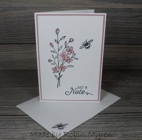 StampinUp Touches of Texture thank you card and set of note cards made by demo Robin Myren
