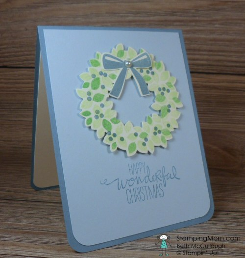 Stampin Up Christmas card made with the Wondrous Wreath stamp set designed by demo Beth McCullough. Please see more card and gift ideas at www.StampingMom.com #StampingMom