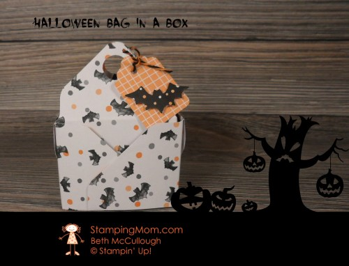 Stampin Up Halloween Bag in a Box designed by demo Beth McCullough.  Please see more card and gift ideas at www.StampingMom.com #Stampingmom