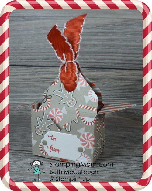 Stampin Up Candy Cane Lane Bag in a Box designed by demo Beth McCullough. Please see more card and gift ideas at www.StampingMom.com #StampingMom #cute&simple4u