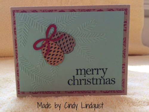 Stampin Up Christmas Pines and Pretty Pines Thinlits Dies made by Cindy Lindquist.