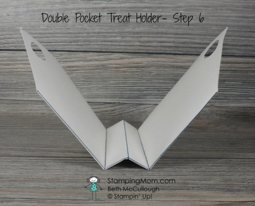 Stampin Up Double Pocket Treat Holder 8x8 made with Candy Cane Lane DSP, designed by demo Beth McCullough. Please see more card and gift ideas at www.StampingMom.com #StampingMom #cute&simple4u