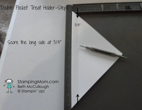 Stampin Up Double Pocket Treat Holder 8x8 directions, designed by demo Beth McCullough. Please see more card and gift ideas at www.StampingMom.com #StampingMom #cute&simple4u