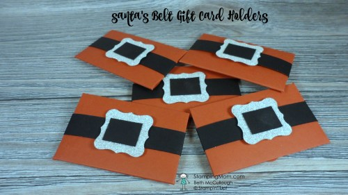 Stampin Up Santa's Belt Gift Card Holders made with the Envelope Punch Board designed by demo Beth McCullough. Please see more card and gift ideas at www.StampingMom.com #StampingMom #cute&simple4u