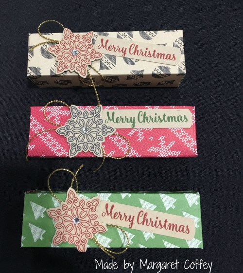 Stampin Up Snickers Box made by demo Margaret Coffey.