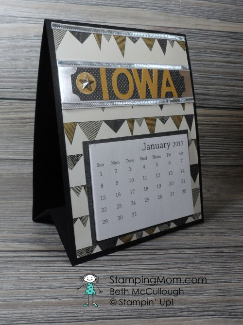 Iowa Hawkeye 2017 Calendar made with the Stampin Up Urban Underground Suite designed by demo Beth McCullough. Please see more card and gift ideas at www.StampingMom.com #StampingMom #cute&simple4u