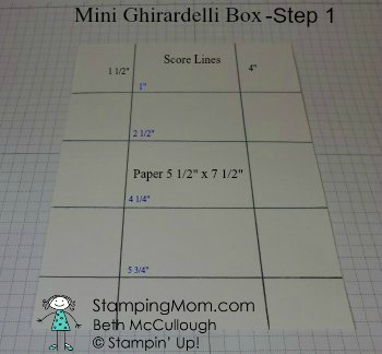 Stampin Up directions to make a Mini Ghirardelli Box-Step 1 designed by demo Beth McCullough. Please see more card and gift ideas at www.StampingMom.com #StampingMom #cute&simple4u