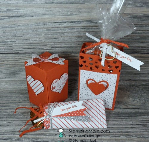 Stampin Up Valentine treats made with the Sending Love Suite designed by demo Beth McCullough. Please see more card and gift ideas at www.StampingMom.com #StampingMom #cute&simple4u