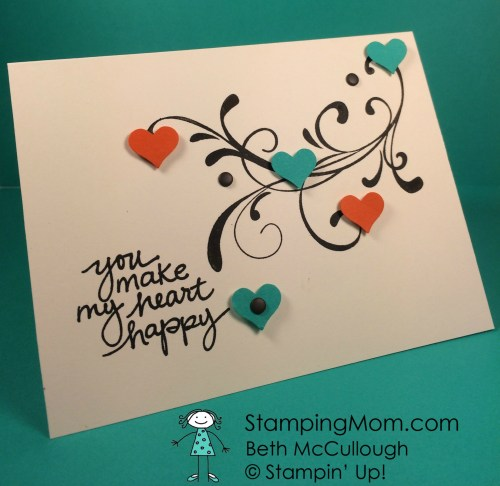 Stampin Up card made by demo Beth McCullough. Please see more card and gift ideas at www.StampingMom.com #StampingMom #cute&simple4u