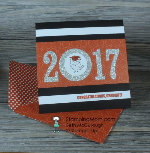 Stampin Up Graduation card made with the Large Numbers Framelits designed by demo Beth McCullough. Please see more card and gift ideas at www.StampingMom.com #StampingMom #cute&simple4u