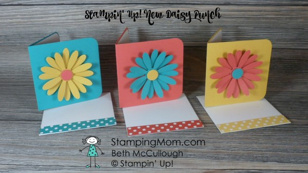 3x3 Daisy cards made with the Daisy Punch from Stampin' Up! Please see card and gift ideas at www.StampingMom.com #StampingMom #cute&simple4u