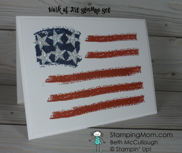 Stampin Up Fourth of July flag card designed by demo Beth McCullough. Please see more card and gift ideas at www.StampingMom.com #StampingMom #cute&simple4u