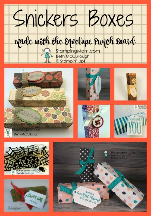 Stampin Up Snickers Boxes made with the Envelope Punch Board designed by demo Beth McCullough. Please see the directions and more card and gift ideas at www.StampingMom #StampingMom #cute&simple4u