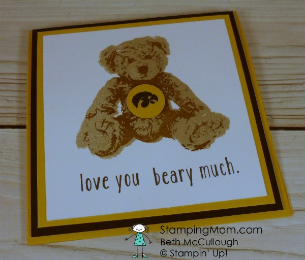 Stampin Up Baby Bear Hawkeye card designed by demo Beth McCullough. Please see more card and gift ideas at www.StampingMom.com #StampingMom #cute&simple4u