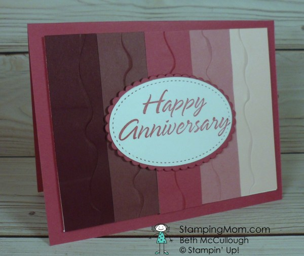 Stampin Up Anniversary card made with the Ruffled embossing folder designed by demo Beth McCullough. Please see more card and gift ideas at www.StampingMom.com #StampingMom #cute&simple4u