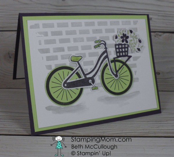 Stampin' Up Bike Ride thank you card designed by demo Beth McCullough. Please see more card and gift ideas at www.StampingMom.com #StampingMom #cute&simple4u
