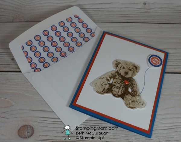 Stampin Up Chicago Cubs baby card made with the Baby Bear stamp set, designed by demo Beth McCullough. Please see more card and gift ideas at www.StampingMom.com #StampingMom #cute&simple4u