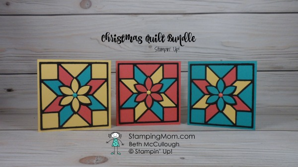 Stampin Up Christmas Quilt Bundle 3x3 cards designed by demo Beth McCullough. Please see more card and gift ideas at www.StampingMom.com #StampingMom #cute&simple4u