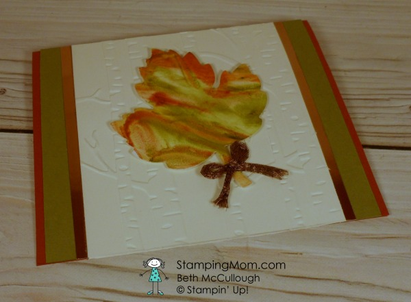 Stampin Up Fall Shaving Cream Stenciling Leaf designed by demo Beth McCullough. Please see more card and gift ideas at www.StampingMom.com #StampingMom #cute&simple4u