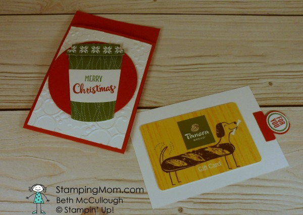 CAS Merry Cafe gift card holders made by demo Beth McCullough. This was cased from Chris Solgar. Please see more card and gift ideas at www.StampingMom.com #StampingMom #cute&simple4u