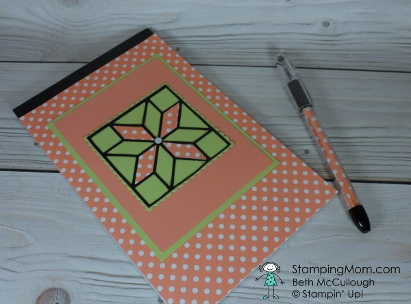 Stampin Up covered notebook and pen designed by demo Beth McCullough. Please see more card and gift ideas at www.StampingMom.com #StampingMom #cute&simple4u