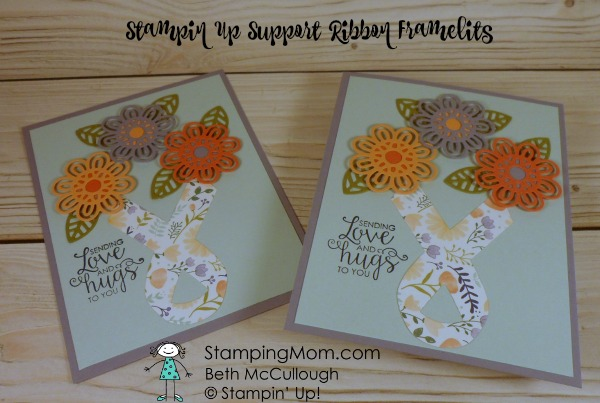 Stampin Up Support Ribbon Framelits card designed by demo Beth McCullough. Please see more card and gift ideas at www.StampingMom.com #StampingMom #cute&simple4u