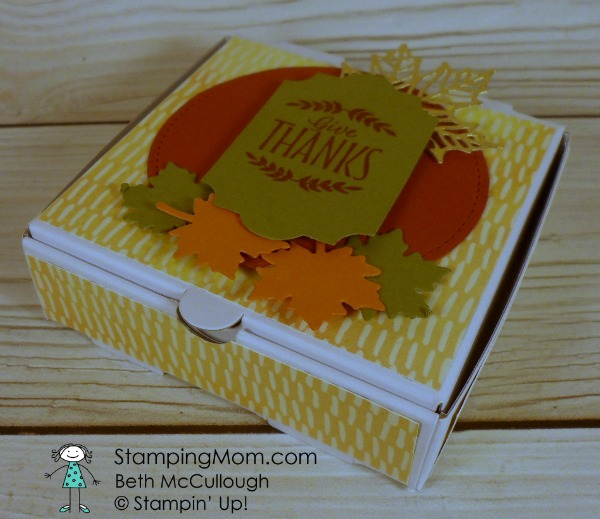 Stampin Up Thanksgiving Mini Pizza Box designed by demo Beth McCullough. Please see more card and gift ideas at www.StampingMom.com #StampingMom #cute&simple4u