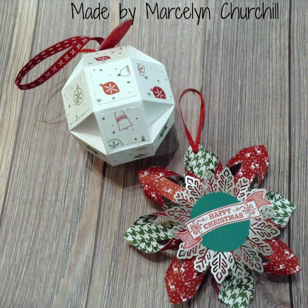Stampin Up Ornaments made by Marcelyn Churchill. See more projects made by Marcelyn on Mondays at www.StampingMom.com #StampingMom #cute& simple4u