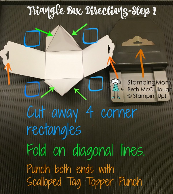 Stampin Up Valentine Triangle Box Directions-Step 2 of 3 by demo Beth McCullough. Please see more card and gift ideas at www.StampingMom.com #StampingMom #cute&simple4u