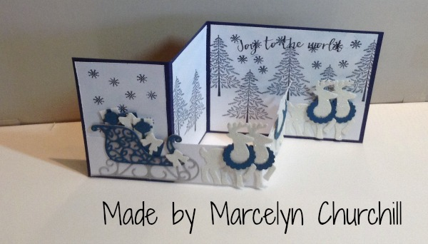 Stampin Up Santa's Sleigh Christmas card made by Marcelyn Churchill. Please see more card and gift ideas at www.StampingMom.com #StampingMom #cute&simple4u