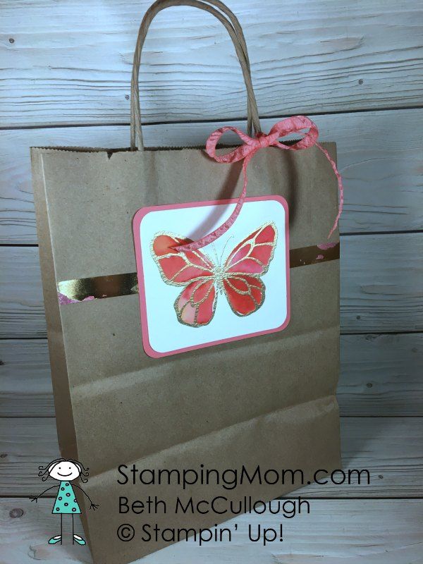 Stampin Up Brusho Butterfly Gift Bags with Painted with Love DSP made by demo Beth McCullough. Please see more card and gift ideas at www.StampingMom.com #StampingMom #cute&simple4u