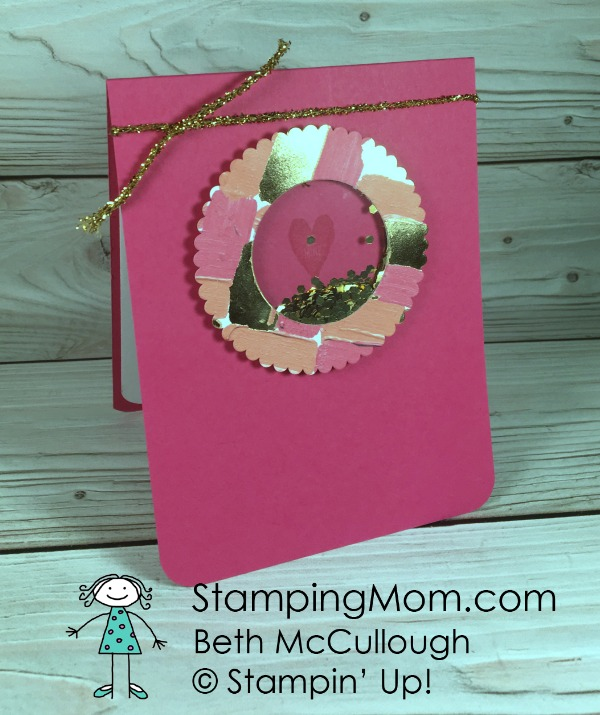 Stampin Up Painted with Love Specialty DSP shaker card designed by demo Beth McCullough. Please see more card and gift ideas at www.StampingMom #StampingMom #cute&simple4u