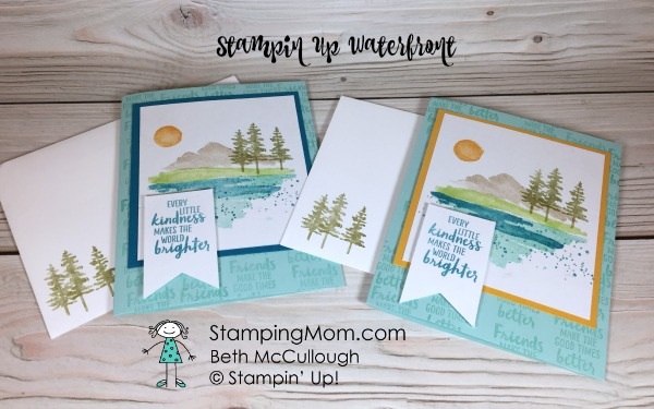 Stampin Up Waterfront cards made by demo Beth McCullough. Please see more card and gift ideas at www.StampingMom #StampingMom #cute&simple4u